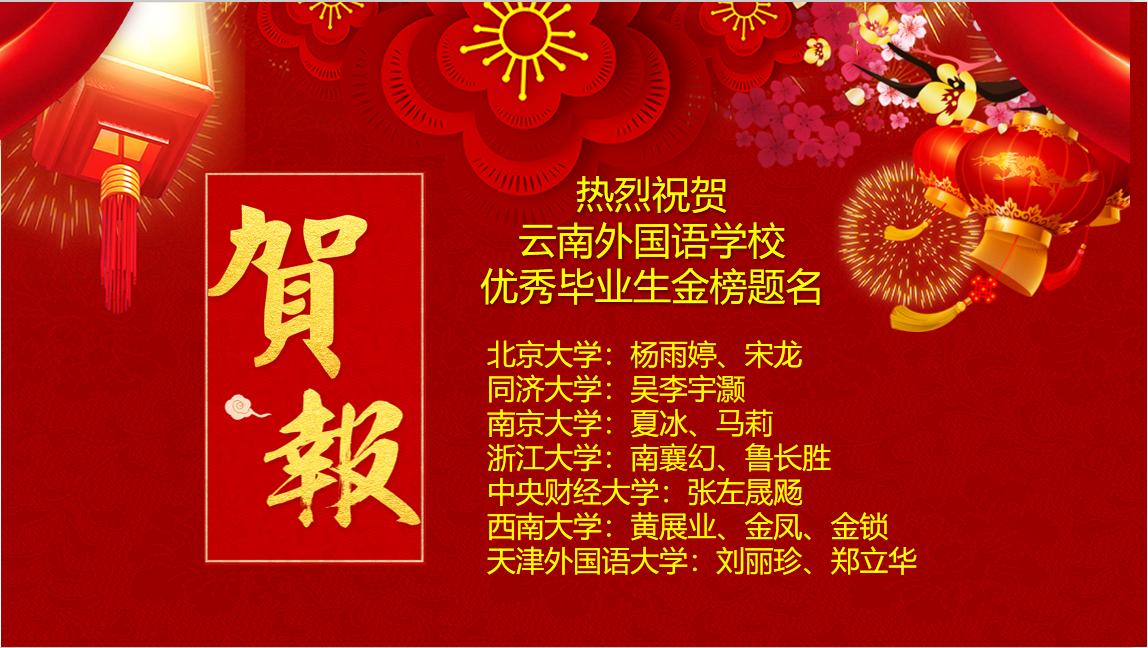 云南外国语学校2020年14名毕业生被北大、同济、浙大等录取