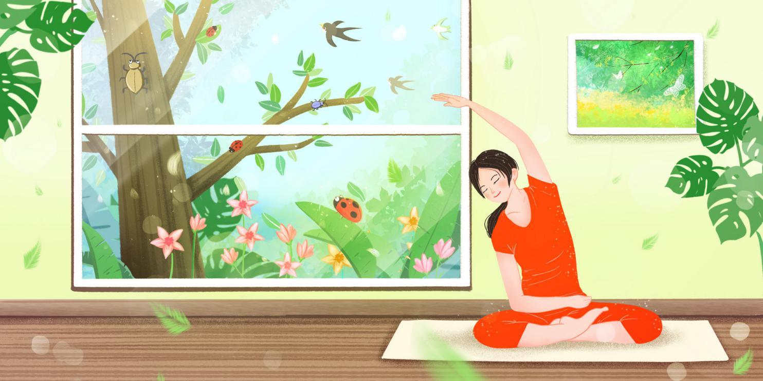 摄图网_401681658_banner_春天惊蛰节气居家瑜伽运动锻炼身体(非企业商用)
