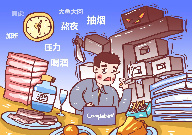 摄图网_400822446_不良生活习惯致癌漫画(非企业商用)
