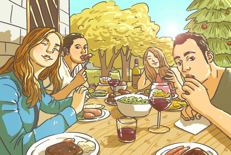 摄图网_400071700_圣诞聚会插画(非企业商用)