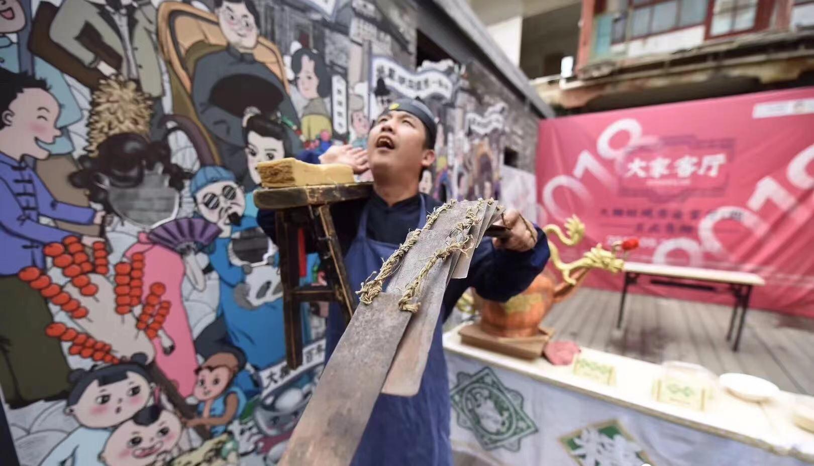 北京正明圣达图文设计有限公司郑光荣和北京正明圣达老北京叫卖艺术团郑光荣活动现场表演精彩吆喝叫卖图片呈现