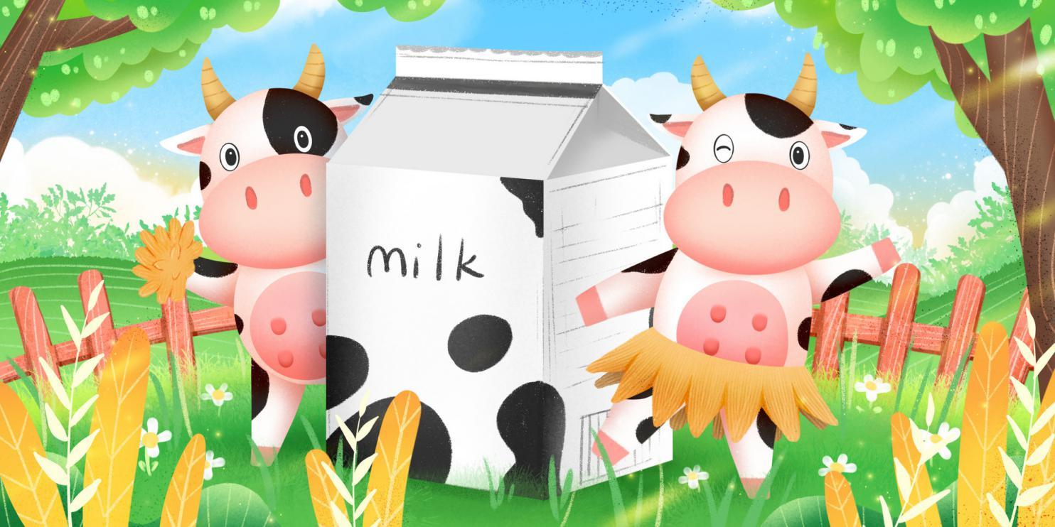 摄图网_401728604_banner_围着牛奶跳舞的可爱奶牛(非企业商用)