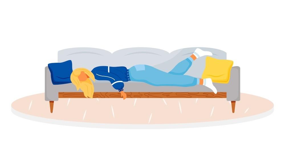 摄图网_303706342_躺在沙发上的疲劳妇女的成年人过度劳动的女睡着士疲惫人疾病症状孤立的卡通插图(非企业商用)