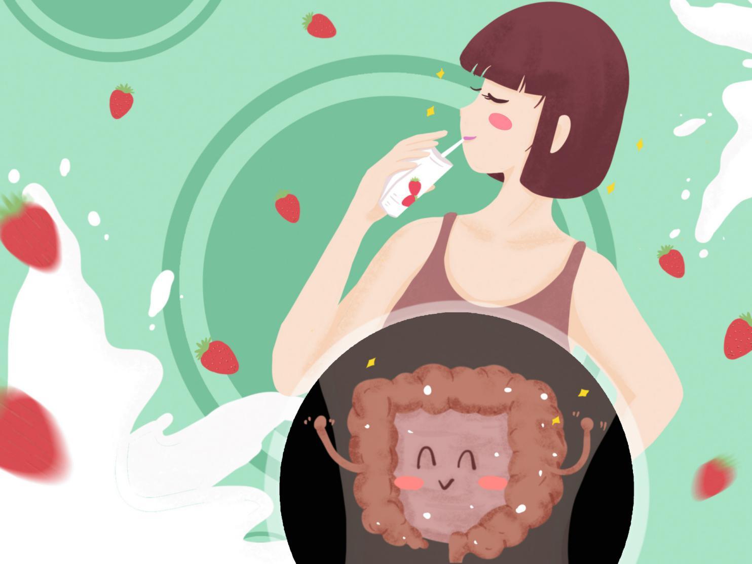 摄图网_401762951_banner_喝草莓酸奶牛奶的肠道健康女孩(非企业商用)