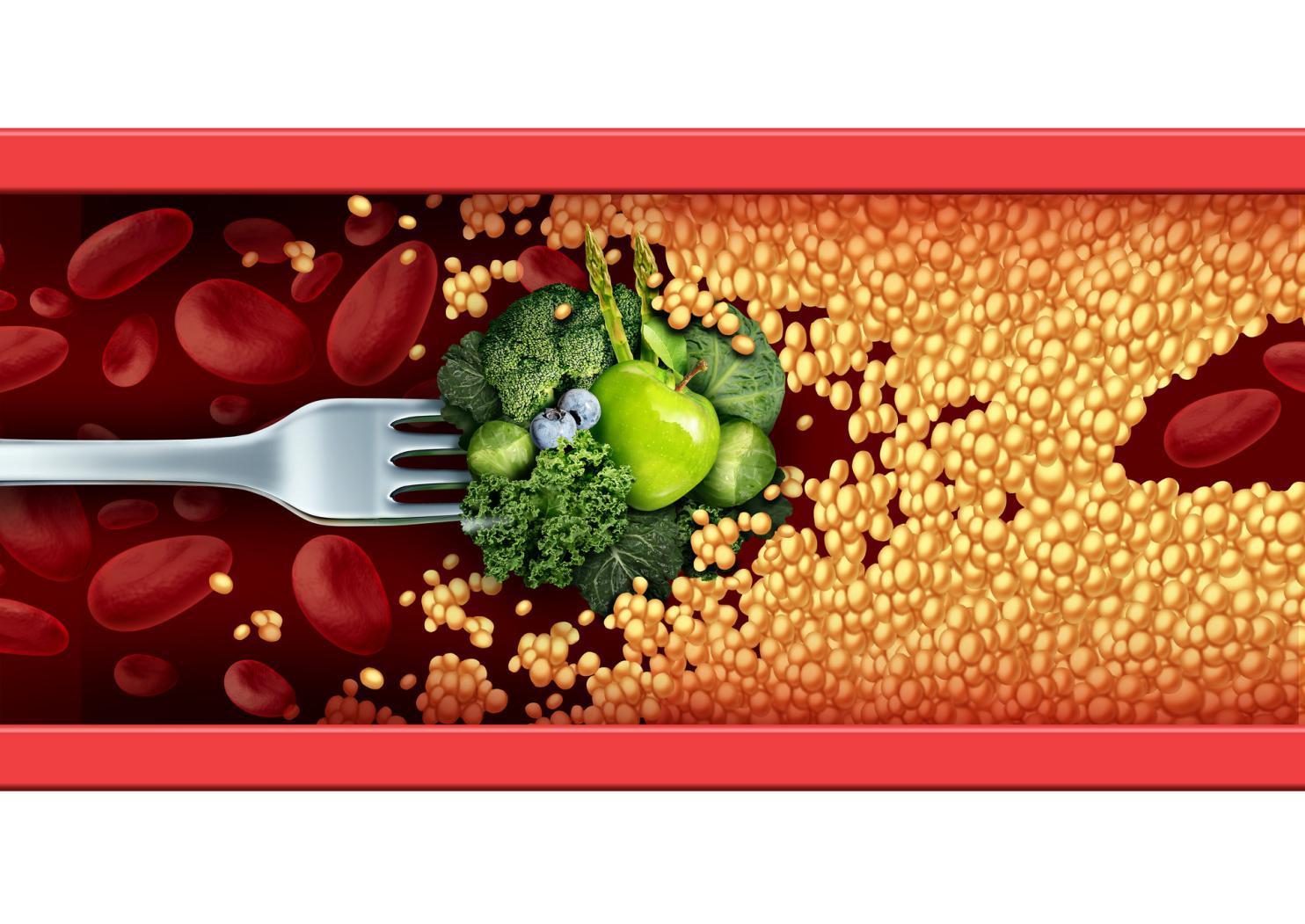 摄图网_300849620_banner_食品医学的自然的治疗补救叉子与绿色蔬菜水果突破阻塞的动脉与胆固醇医疗营养象征,以健康的饮食方式(非企业商用)